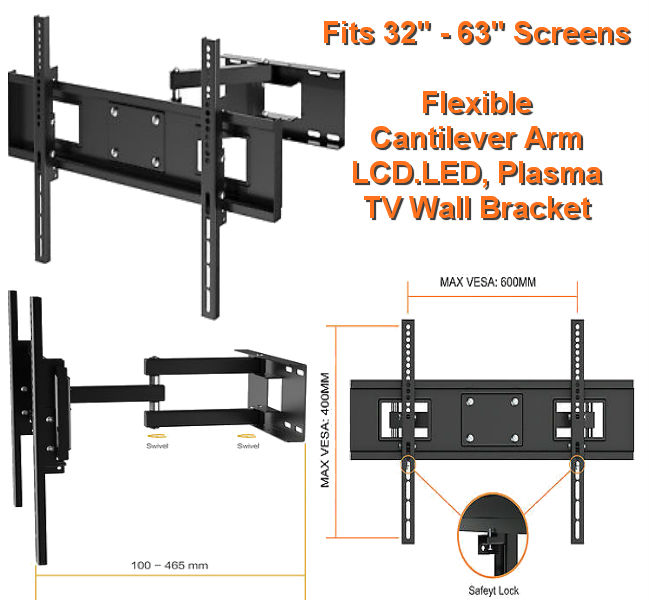 "32"" - 65"" Cantilever Single Arm TV Bracket"