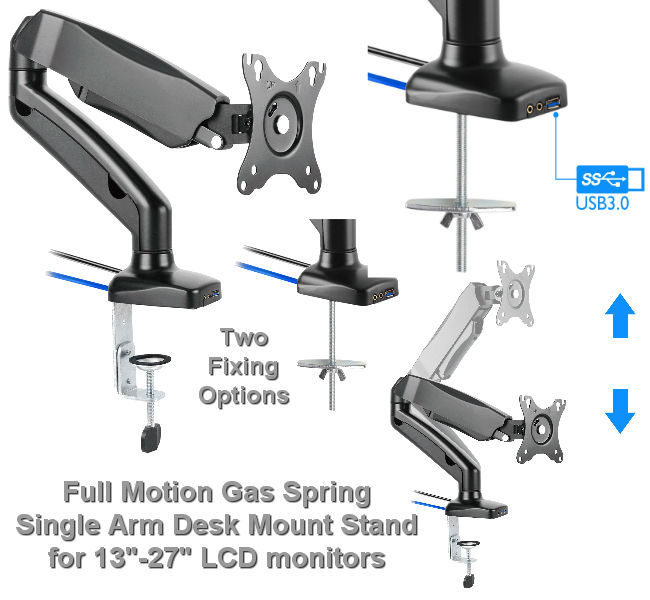Full Motion Gas Spring Desk Mount