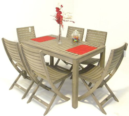 7 Piece Grey Wash Dining Table with 6 Folding Chairs