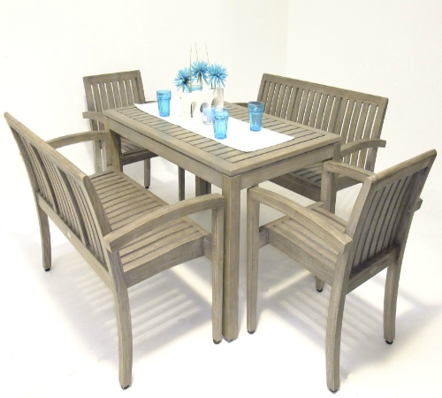 Grey Wood Dining Set with 2 Benches & 2 Carver Chairs