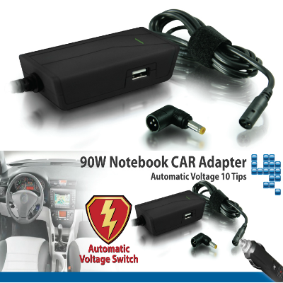 Hantol Universal Laptop Charger 90W (Car DC 12Volt) Black