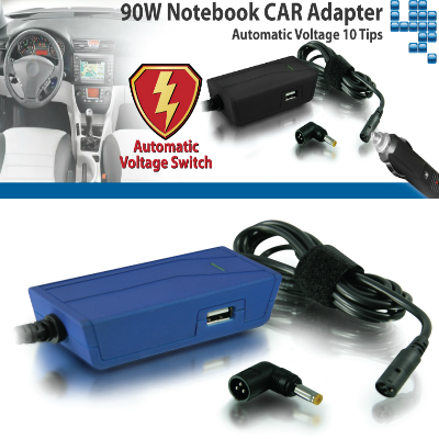 Hantol Universal Laptop Charger 90W (Car DC 12Volt) Blue