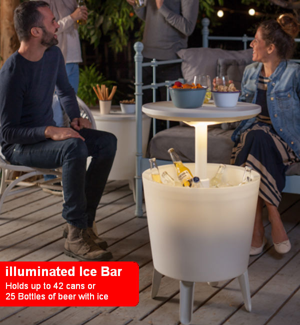Illuminated Serving & Ice Bar - White
