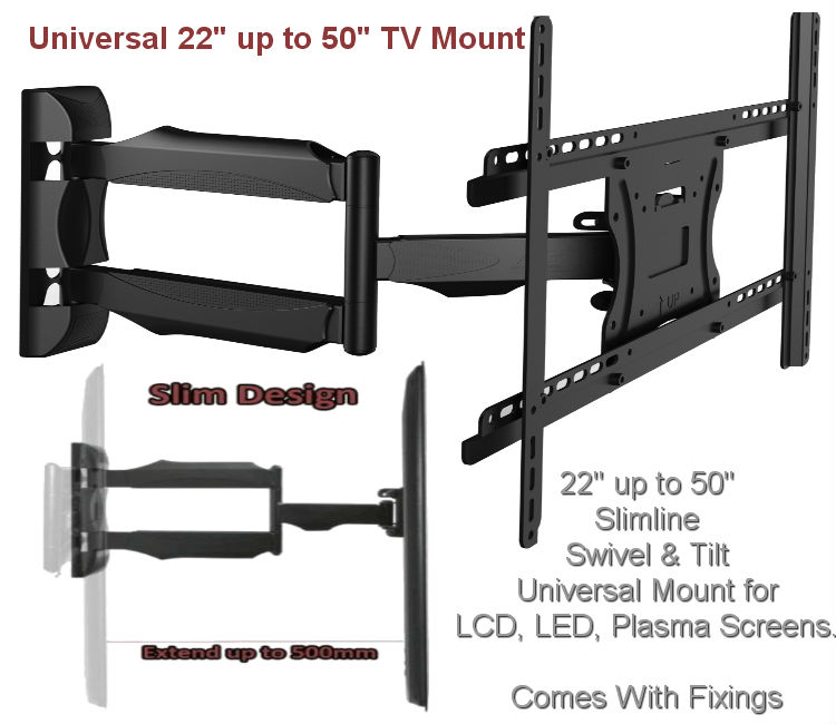 "Slim 22"" - 52"" Swivel & Tilt TV Wall Mount"