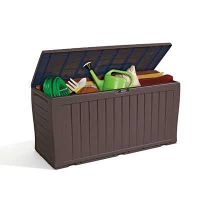 Garden Storage Box - Brown Plastic Wood Effect