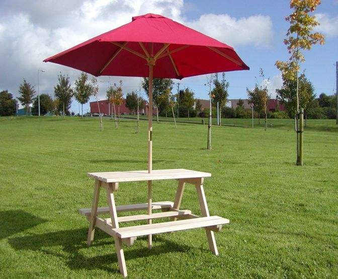 Kids Wooden Picnic Bench with Parasol. Kids Garden Furniture Ireland