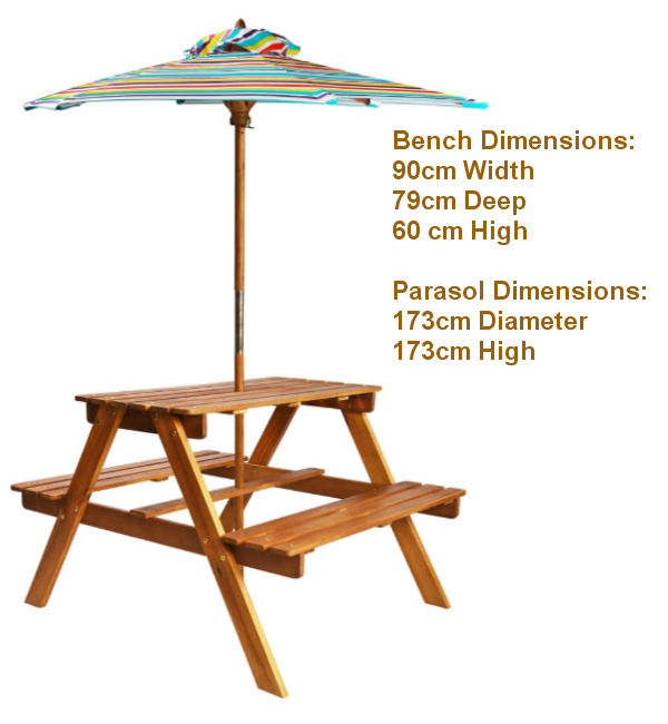 Kids Picnic Table & Parasol