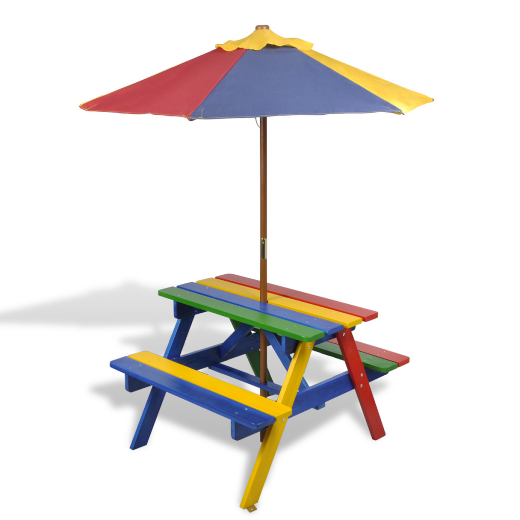 Kids Wooden Picnic Bench with Coloured Parasol