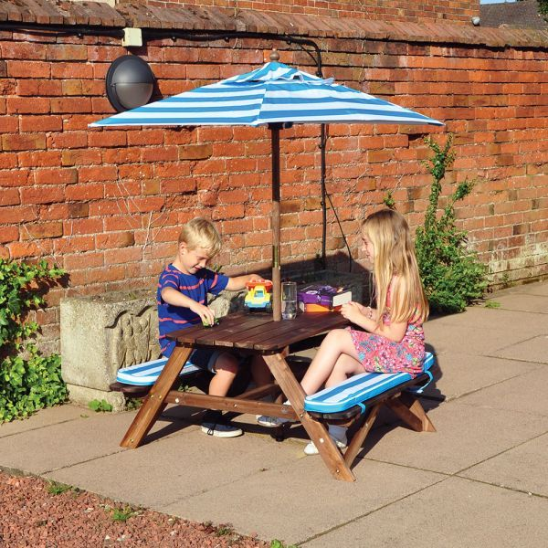 Kids Picnic Bench with Parasol & Cushions