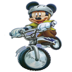 Large Mickey Mouse Mountain Biking Sticker