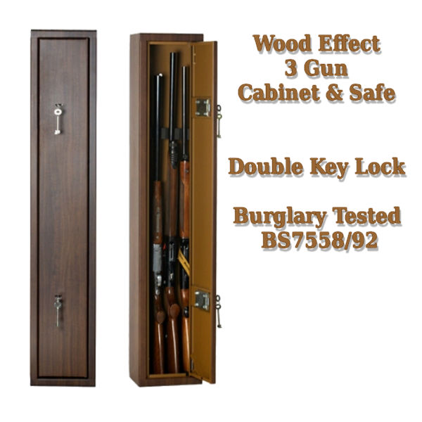 Wood Effect 3 Gun Cabinet & Safe