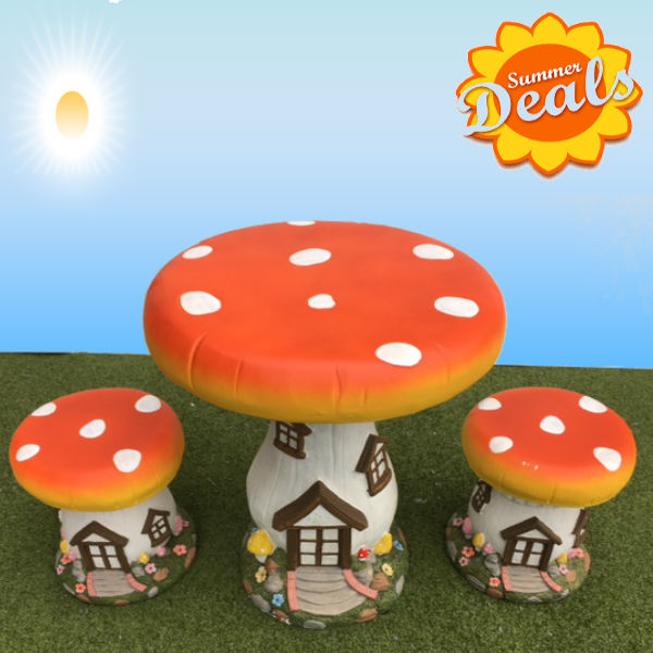 Kids Patio Furniture - Mushroom with Door Set