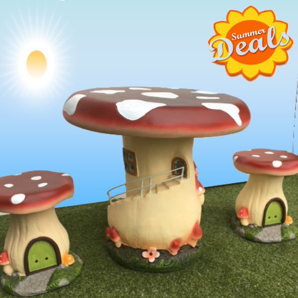 Kids Patio Furniture - Mushroom Set with Steps