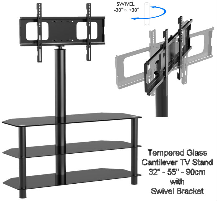 "32""-55"" 90cm Black Cantilever TV Stand"