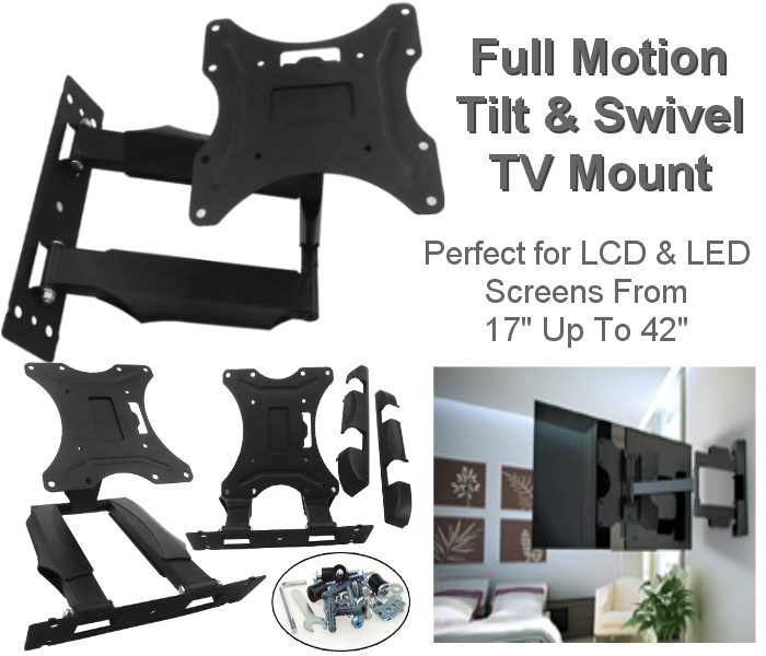 "17""-42"" Double Arm Swivel & Tilt TV Bracket"