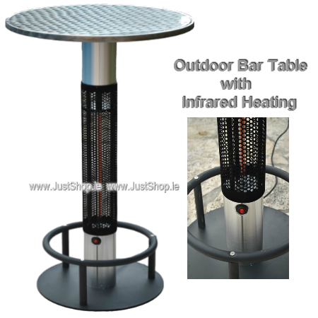 Outdoor Bar Table With Infrared Electric Patio Heater