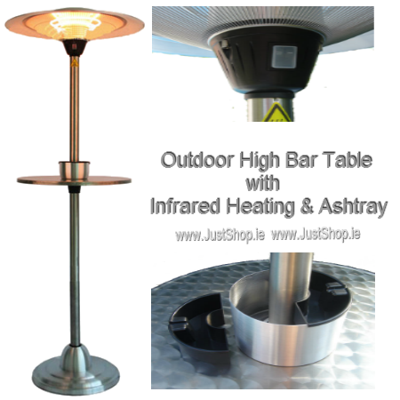 Outdoor High Bar Table & Ashtray with Elecetric Infrared Heater