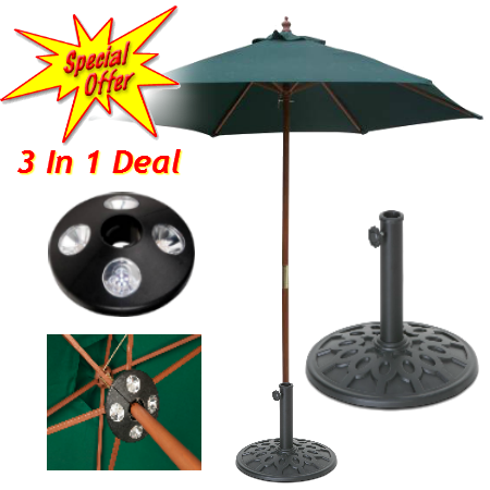 3 In 1 Offer - Parasol - Parasol Base - Parasol LED Light