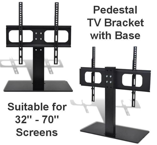 "32-70"" Pedestal TV Mount with Countertop Stand"