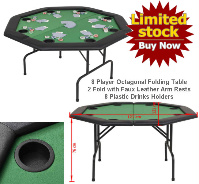 8-Player Octagonal Folding Poker Table