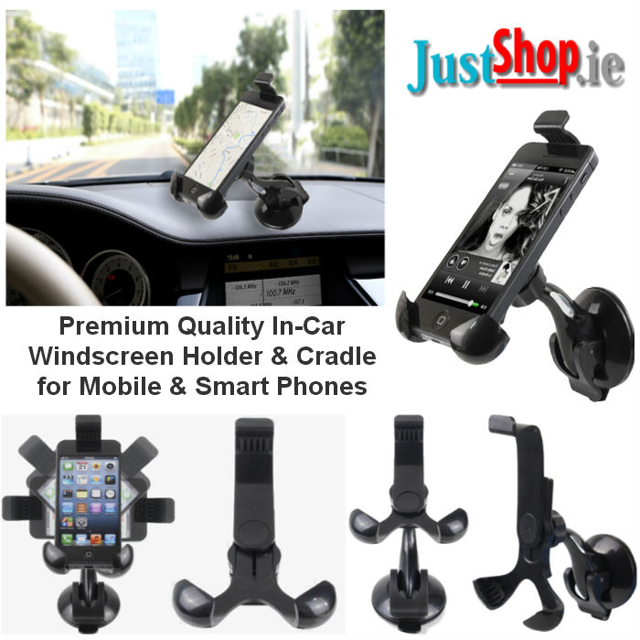 In Car Windscreen Mount & Cradle for Mobiles & Smartphones