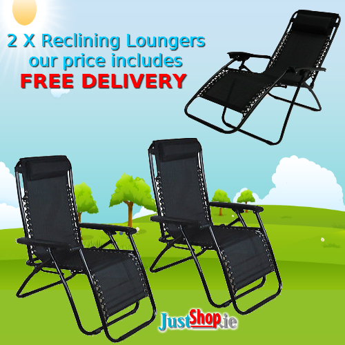 Reclining Sun Loungers (Set of Two)