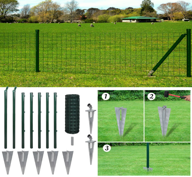80cm x 10M Spike Set & Posts - Square Mesh Fence