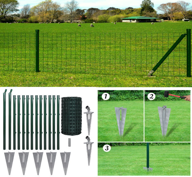 80cm x 25m Spike Set & Posts - Square Mesh Fence