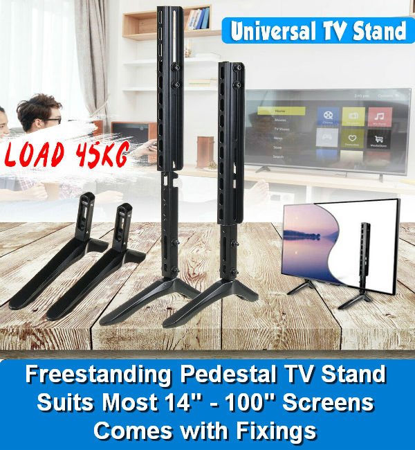 14-100'' / 26-75'' TV Stand Base Plasma LCD Flat Screen Table To