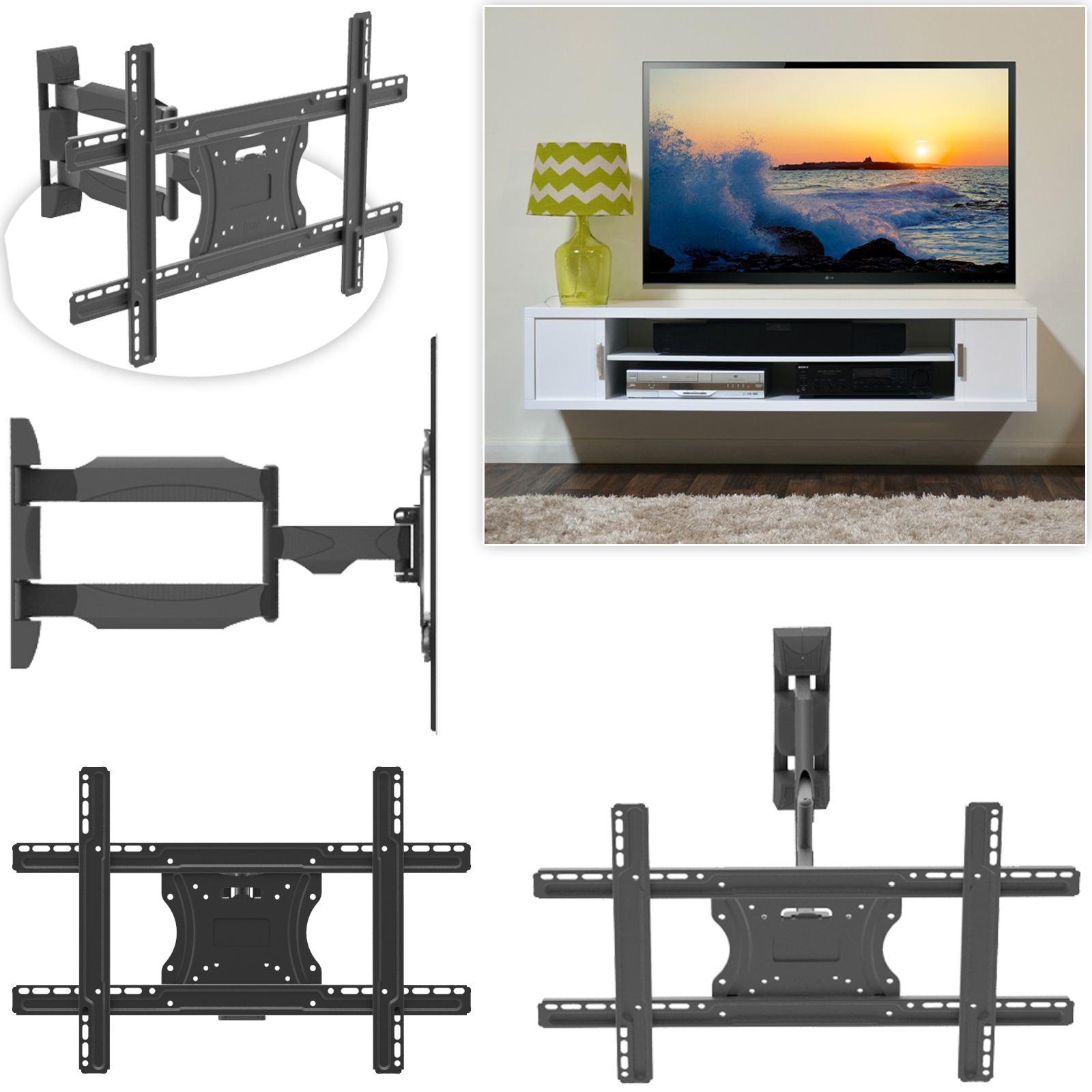 "32""-55"" Swivel & Tilt Double Arm TV Mount"