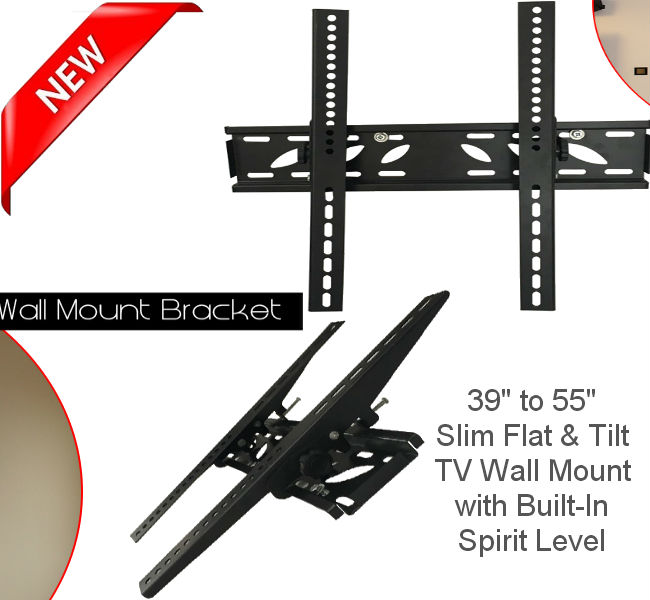 "39""-55"" Slim Flat & Tilt TV Wall Bracket"