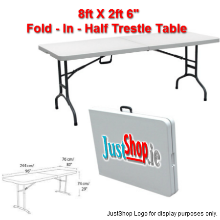 "8ft X 2ft 6"" Fold - In - Half Trestle Table"