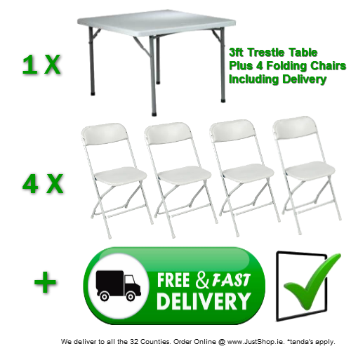 3ft X 3ft Folding Table with 4 Stacking Chairs.