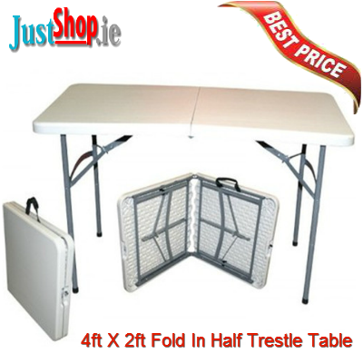 4ft X 2ft Fold   In   Half Trestle Table