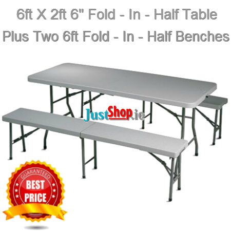 6ft Folding Table with 2 6ft Folding Benches