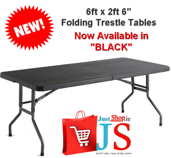 "6ft X 2ft 6"" Folding Table - Black"