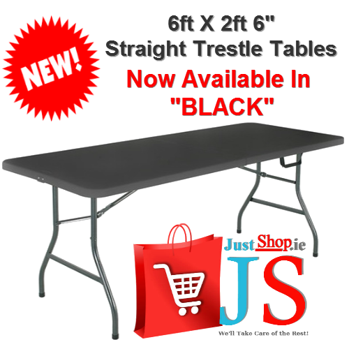 "6ft X 2ft 6"" Straight Fold Away Type Table - Black"