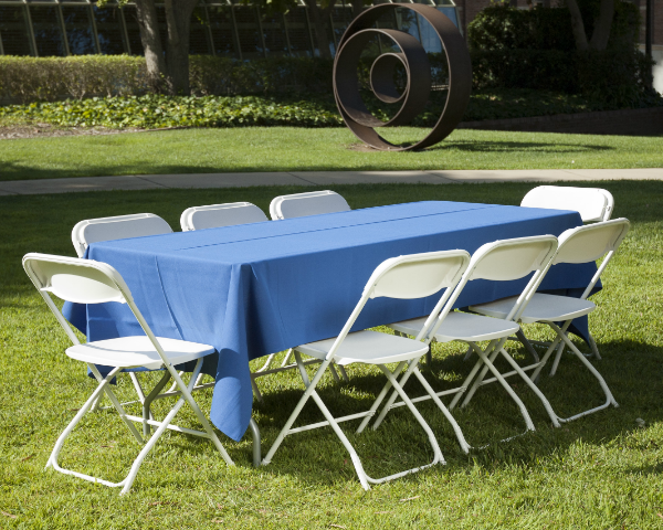 8ft Party Table with 8 Stacking Chairs
