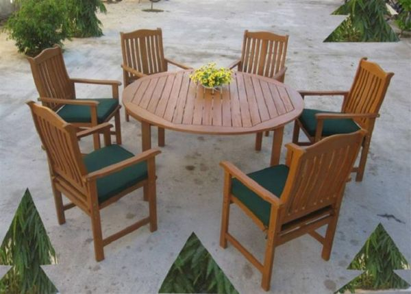 7 Piece Wooden Dining Set (Yellow Balau Hardwood)