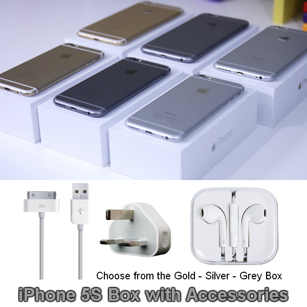 iPhone 5S 16gb Gold, Silver or Grey Box with Accessories