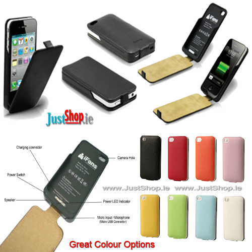 iPhone Leather Phone Case with Built-In Phone Charger